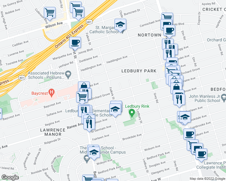map of restaurants, bars, coffee shops, grocery stores, and more near 556 Old Orchard Grove in Toronto