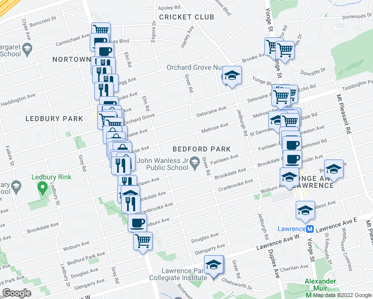 map of restaurants, bars, coffee shops, grocery stores, and more near 187 Melrose Avenue in Toronto