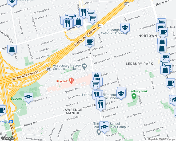map of restaurants, bars, coffee shops, grocery stores, and more near 2 Neptune Drive in Toronto
