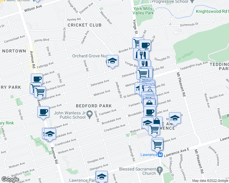 map of restaurants, bars, coffee shops, grocery stores, and more near 310 Jedburgh Road in Toronto