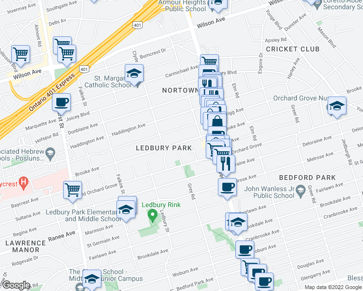 map of restaurants, bars, coffee shops, grocery stores, and more near 283 Brooke Avenue in Toronto