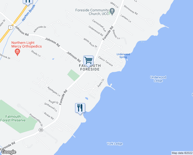 map of restaurants, bars, coffee shops, grocery stores, and more near 5 Pitt Street in Falmouth