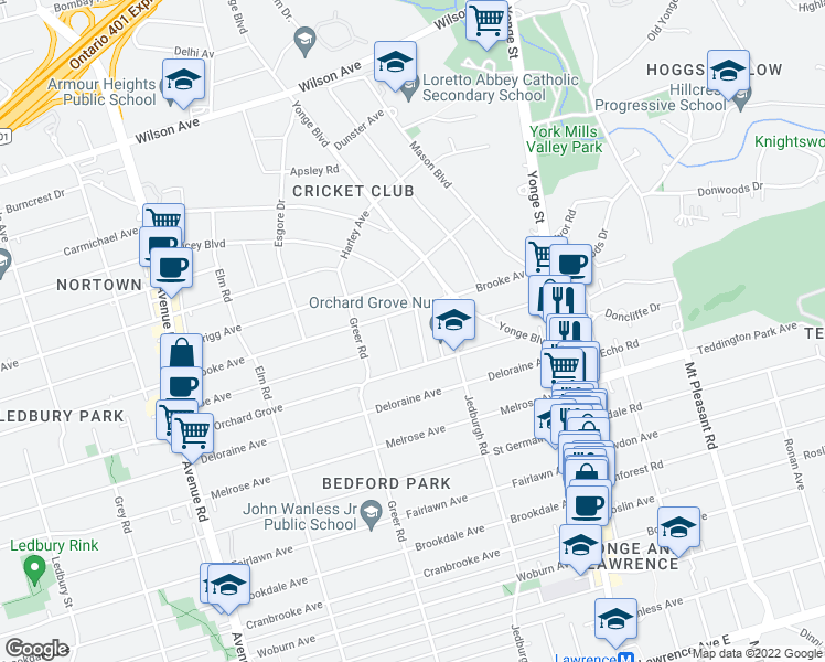 map of restaurants, bars, coffee shops, grocery stores, and more near 18 Joicey Boulevard in Toronto