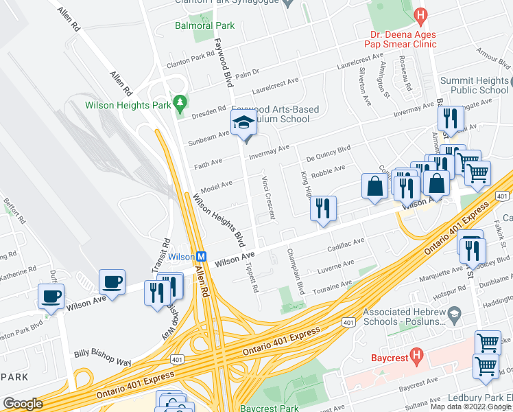 map of restaurants, bars, coffee shops, grocery stores, and more near 45 Faywood Boulevard in Toronto