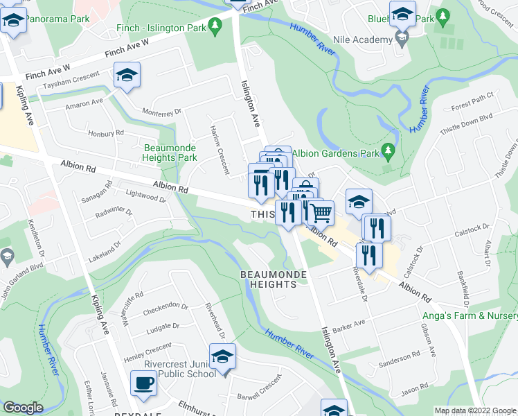 map of restaurants, bars, coffee shops, grocery stores, and more near 1145 Albion Road in Toronto