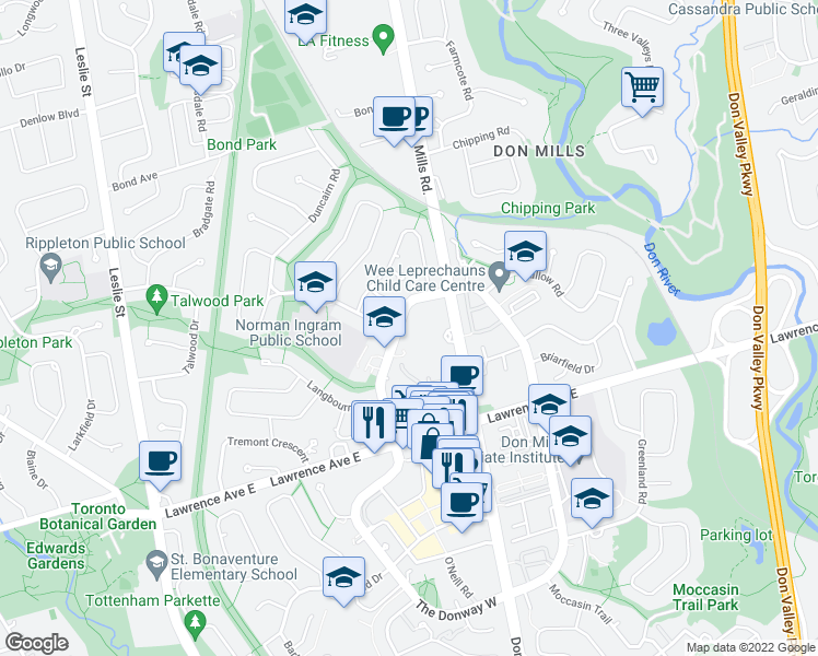 map of restaurants, bars, coffee shops, grocery stores, and more near 245 The Donway West in Toronto
