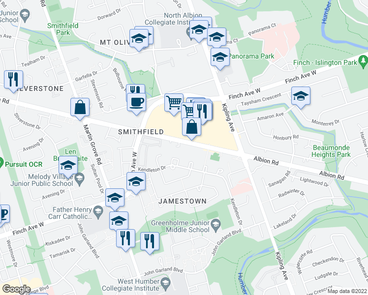 map of restaurants, bars, coffee shops, grocery stores, and more near 1525 Albion Road in Toronto