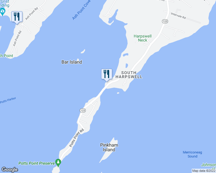 map of restaurants, bars, coffee shops, grocery stores, and more near 1939 Harpswell Neck Road in Harpswell