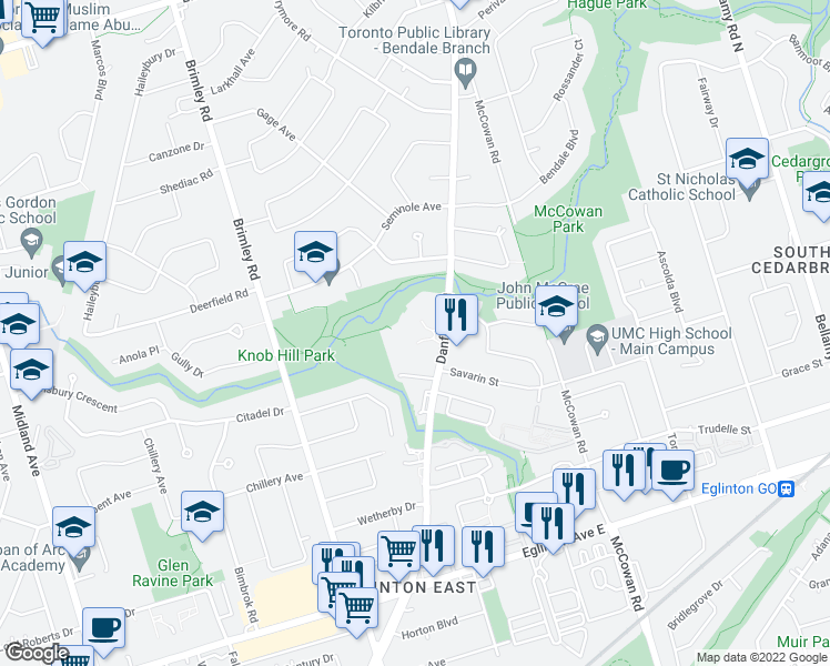 map of restaurants, bars, coffee shops, grocery stores, and more near 1350 Danforth Road in Toronto