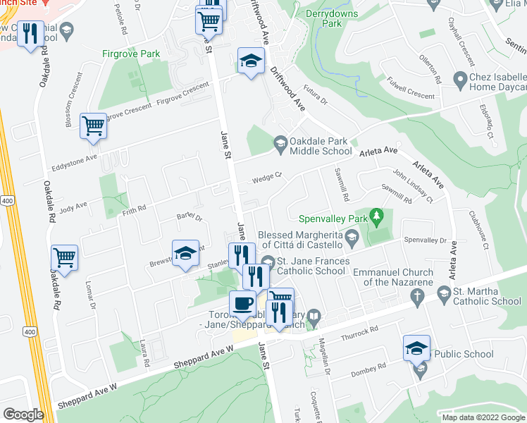 map of restaurants, bars, coffee shops, grocery stores, and more near 39 Rita Drive in Toronto