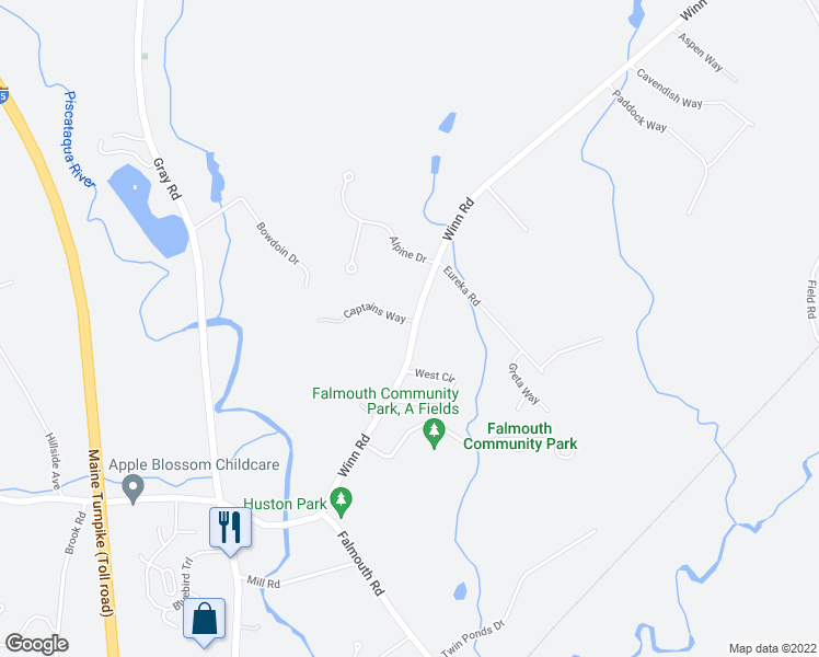 map of restaurants, bars, coffee shops, grocery stores, and more near 42 Winn Road in Falmouth