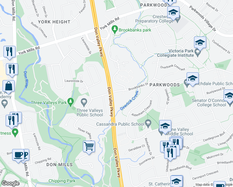 map of restaurants, bars, coffee shops, grocery stores, and more near 15 Three Valleys Drive in Toronto