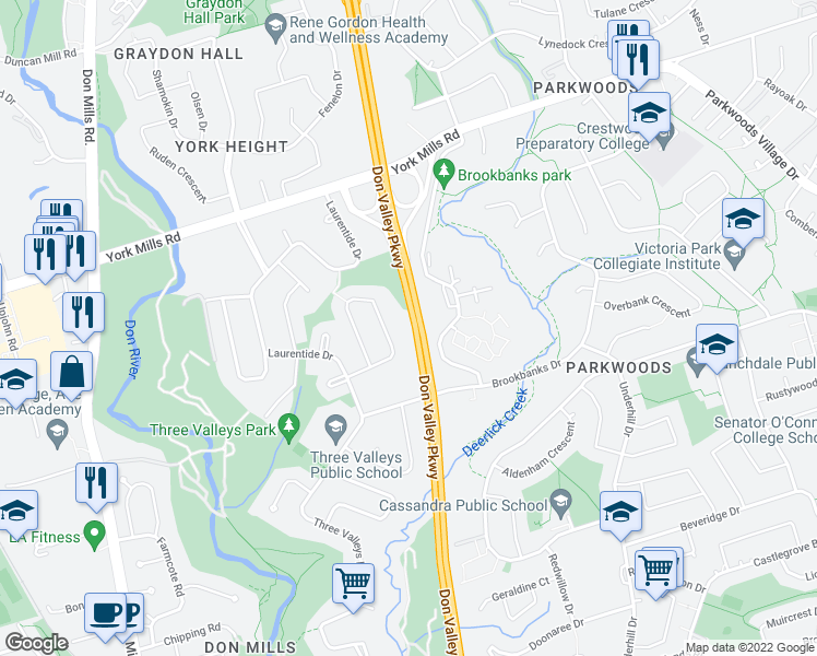map of restaurants, bars, coffee shops, grocery stores, and more near 23 Larabee Crescent in Toronto