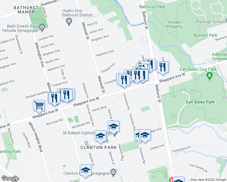 map of restaurants, bars, coffee shops, grocery stores, and more near 700 Sheppard Avenue West in Toronto