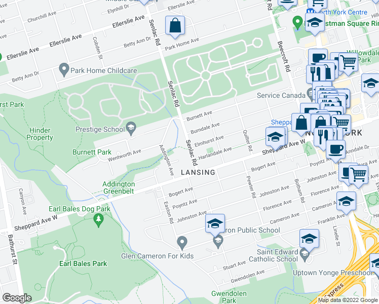 map of restaurants, bars, coffee shops, grocery stores, and more near 20 Senlac Road in Toronto