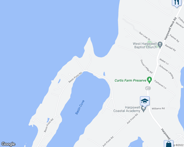 map of restaurants, bars, coffee shops, grocery stores, and more near 147 Basin Point Road in Harpswell