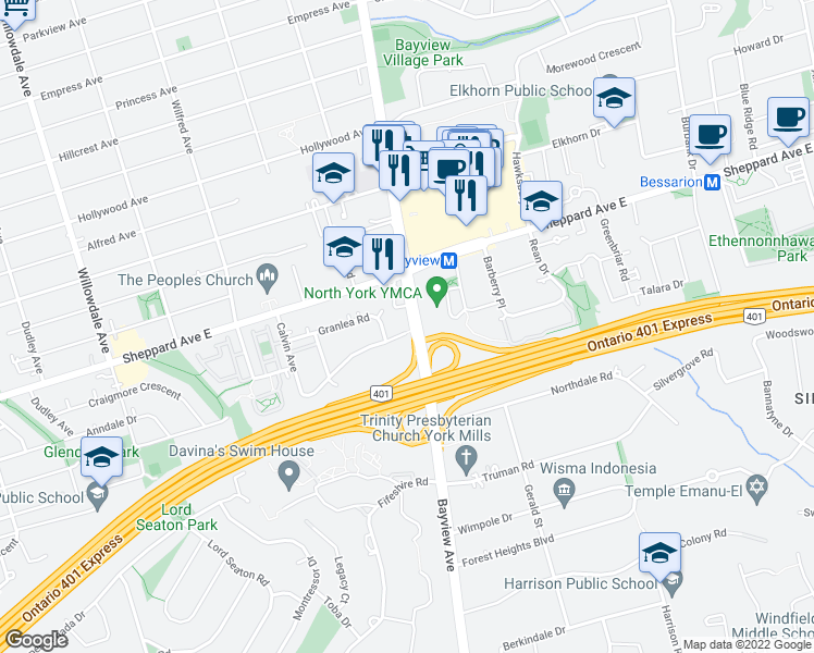 map of restaurants, bars, coffee shops, grocery stores, and more near 2810 Bayview Avenue in Toronto