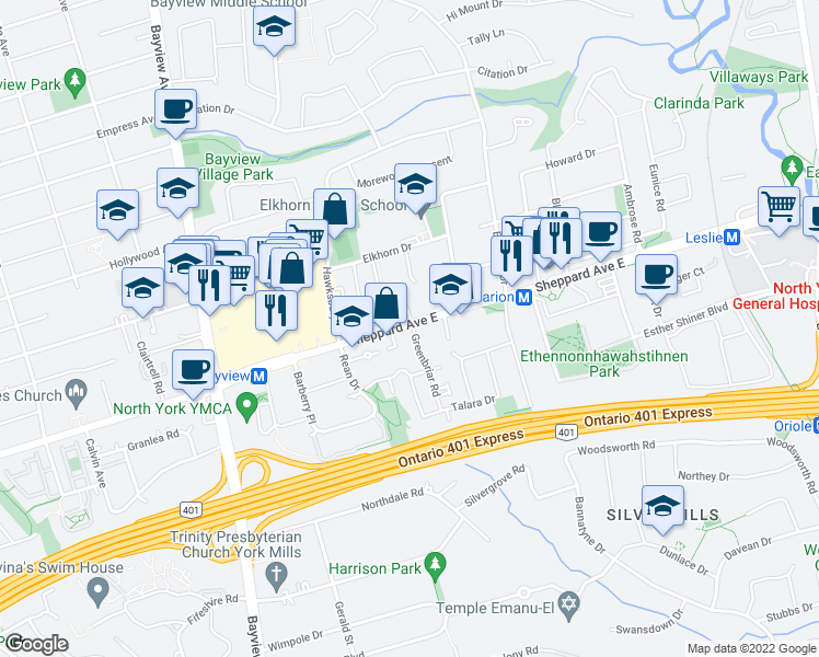 map of restaurants, bars, coffee shops, grocery stores, and more near 625 Sheppard Avenue East in Toronto