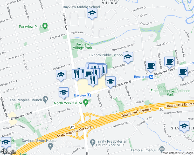 map of restaurants, bars, coffee shops, grocery stores, and more near 2901 Bayview Avenue in Toronto