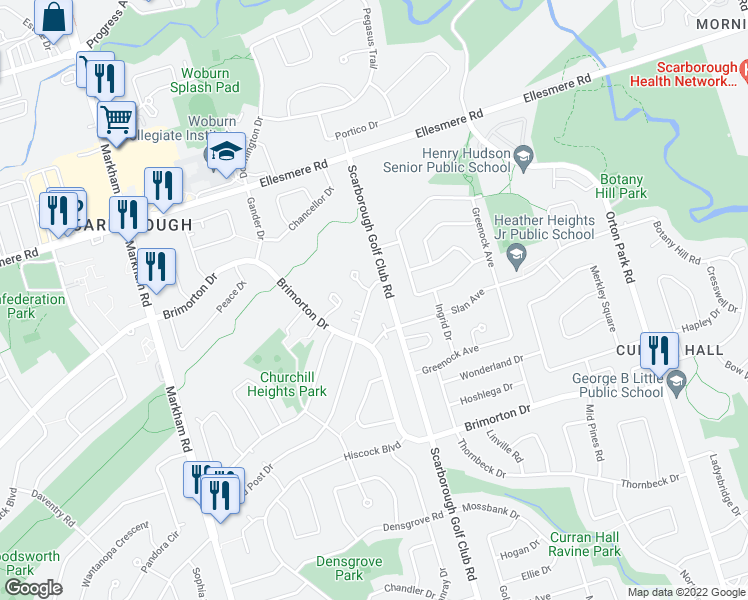 map of restaurants, bars, coffee shops, grocery stores, and more near 445 Painted Post Drive in Toronto