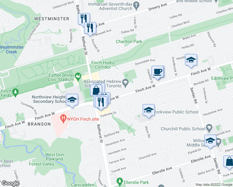map of restaurants, bars, coffee shops, grocery stores, and more near 286 Finch Avenue West in Toronto
