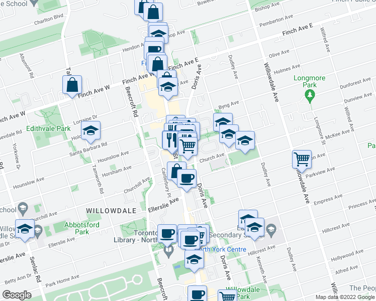 map of restaurants, bars, coffee shops, grocery stores, and more near 20 Church Avenue in Toronto