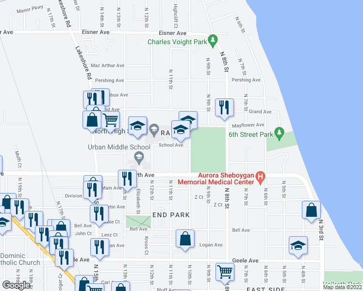 map of restaurants, bars, coffee shops, grocery stores, and more near 1000-1098 School Avenue in Sheboygan