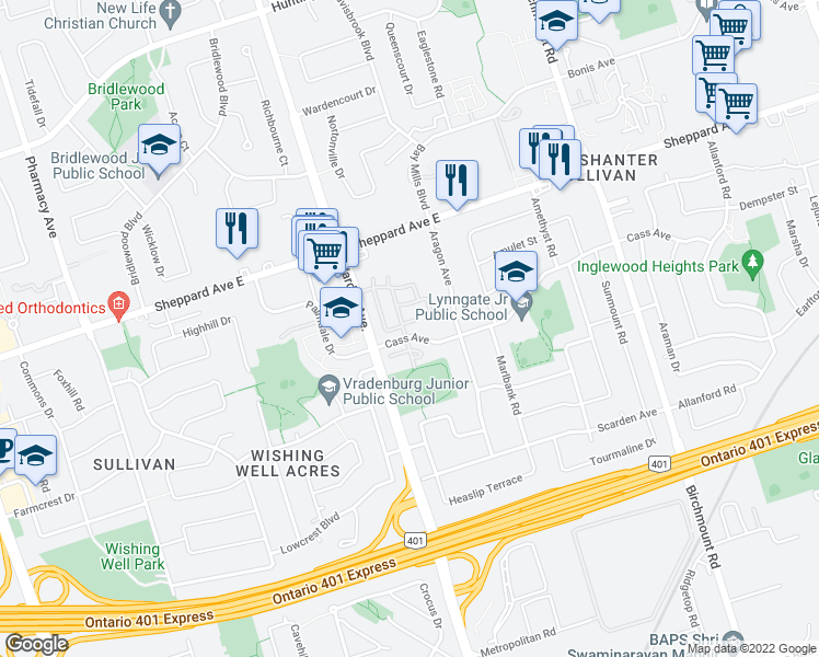 map of restaurants, bars, coffee shops, grocery stores, and more near 71 Cass Avenue in Toronto