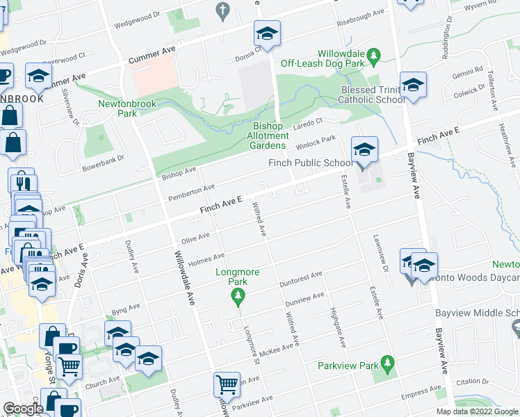 map of restaurants, bars, coffee shops, grocery stores, and more near 329 Wilfred Avenue in Toronto