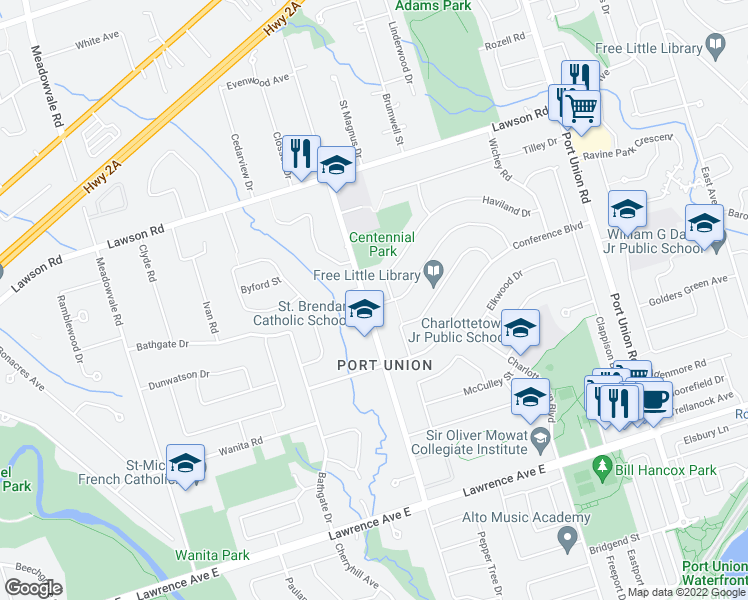 map of restaurants, bars, coffee shops, grocery stores, and more near 2 D'Arcy Magee Crescent in Toronto