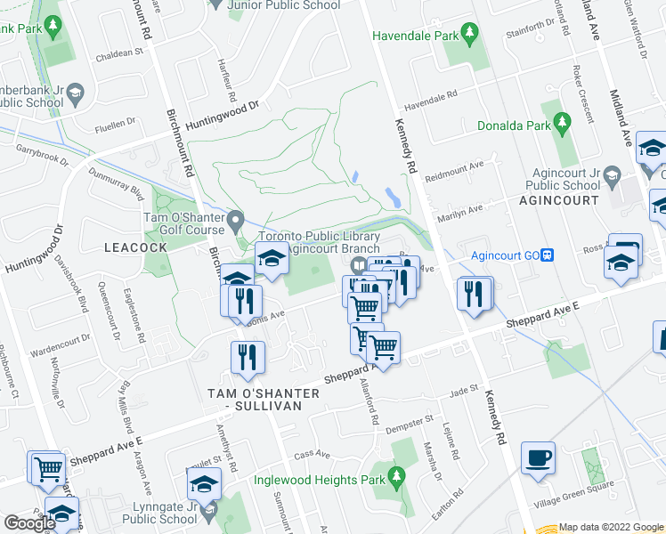 map of restaurants, bars, coffee shops, grocery stores, and more near 138 Bonis Avenue in Toronto