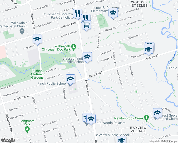map of restaurants, bars, coffee shops, grocery stores, and more near 3181 Bayview Avenue in Toronto