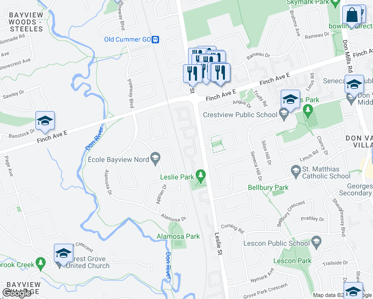 map of restaurants, bars, coffee shops, grocery stores, and more near 41 Pepper Vine Way in Toronto