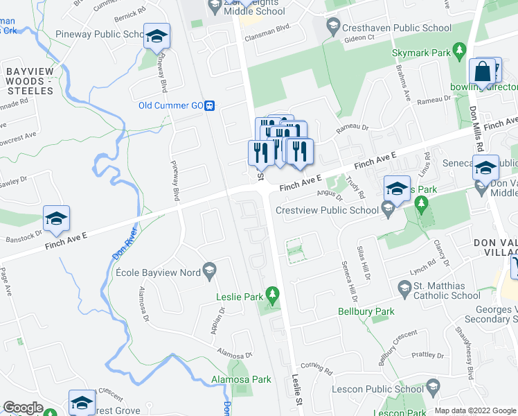 map of restaurants, bars, coffee shops, grocery stores, and more near 43 Woody Vine Way in Toronto