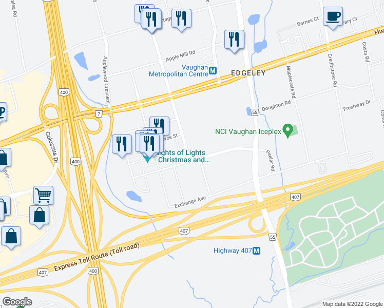 map of restaurants, bars, coffee shops, grocery stores, and more near 25 Interchange Way in Vaughan