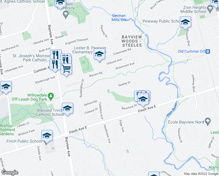 map of restaurants, bars, coffee shops, grocery stores, and more near 24 Sawley Drive in Toronto
