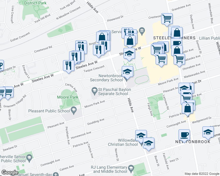 map of restaurants, bars, coffee shops, grocery stores, and more near 22 Crossen Drive in Toronto