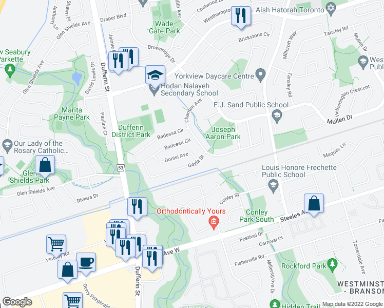 map of restaurants, bars, coffee shops, grocery stores, and more near 87 Donisi Avenue in Vaughan