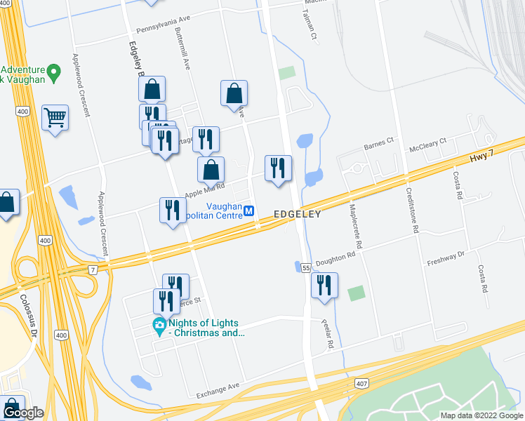 map of restaurants, bars, coffee shops, grocery stores, and more near in Vaughan