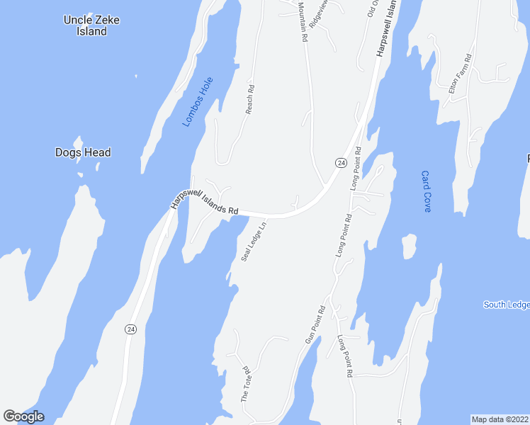 map of restaurants, bars, coffee shops, grocery stores, and more near Little Island Road in Harpswell