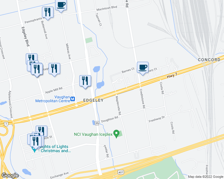 map of restaurants, bars, coffee shops, grocery stores, and more near 2938-2968 Highway 7 in Vaughan