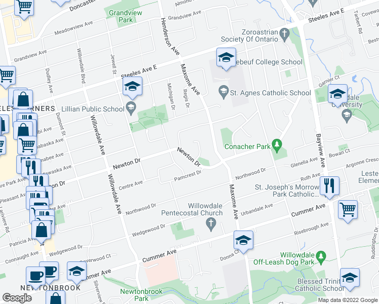 map of restaurants, bars, coffee shops, grocery stores, and more near 170 Newton Drive in Toronto