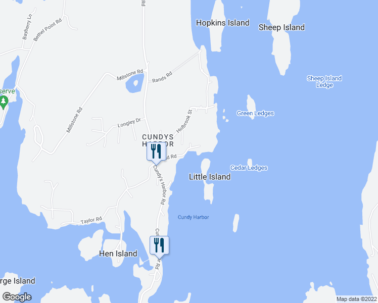 map of restaurants, bars, coffee shops, grocery stores, and more near Field Road in Harpswell