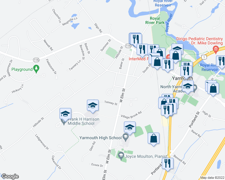 map of restaurants, bars, coffee shops, grocery stores, and more near 31 Bartlett Circle in Yarmouth