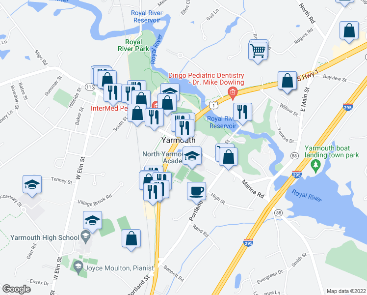 map of restaurants, bars, coffee shops, grocery stores, and more near 188 Main Street in Yarmouth