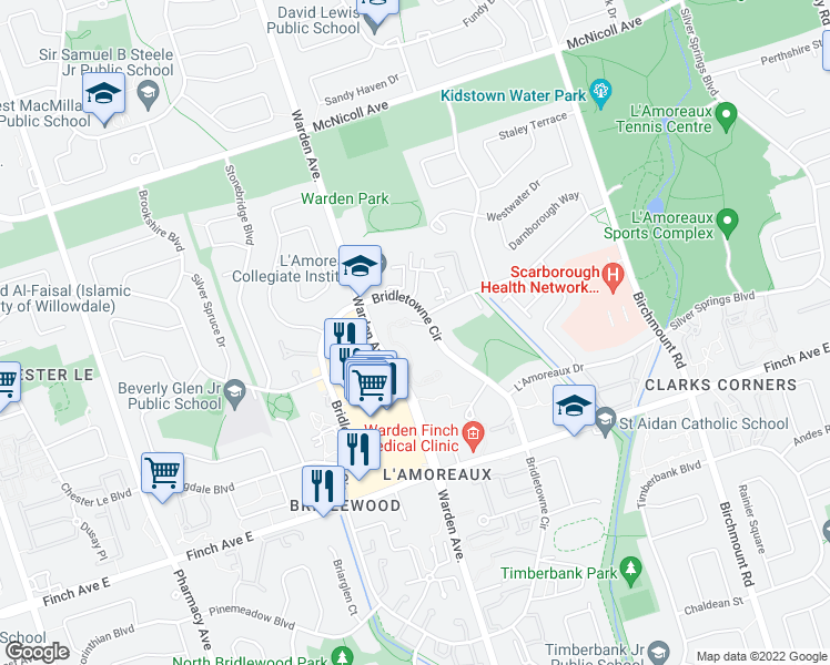 map of restaurants, bars, coffee shops, grocery stores, and more near 2350 Bridletowne Circle in Toronto