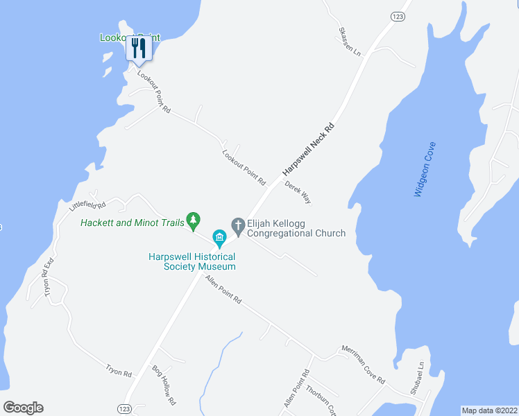 map of restaurants, bars, coffee shops, grocery stores, and more near 923 Harpswell Neck Road in Harpswell