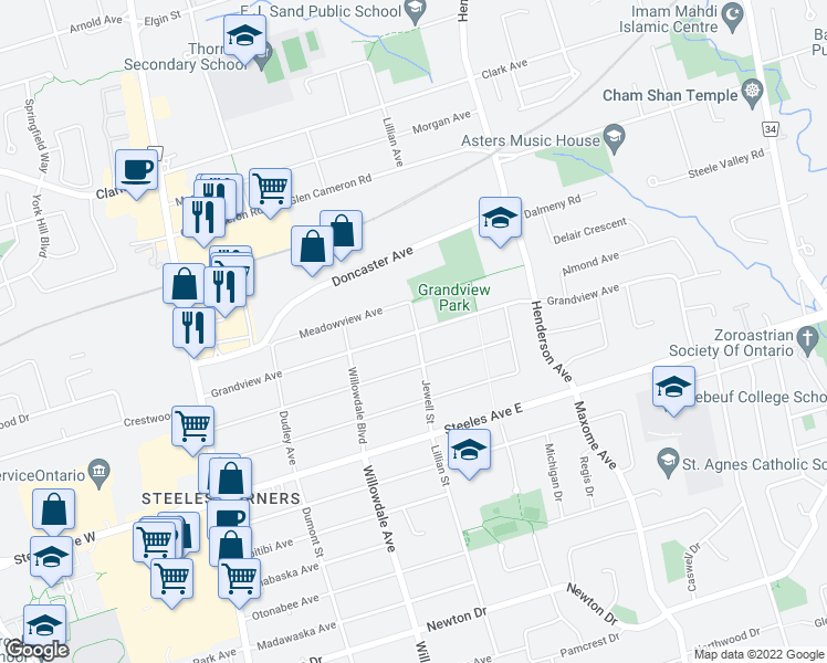 map of restaurants, bars, coffee shops, grocery stores, and more near 92 Grandview Avenue in Markham