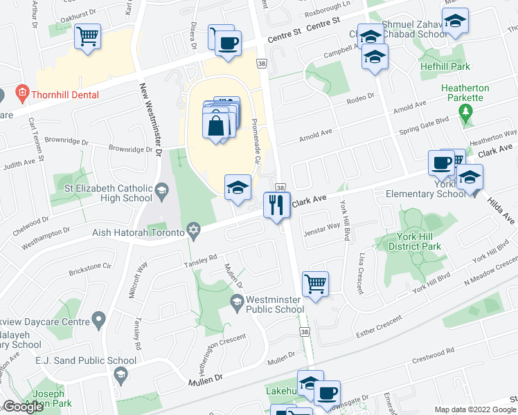 map of restaurants, bars, coffee shops, grocery stores, and more near 7440 Bathurst Street in Vaughan
