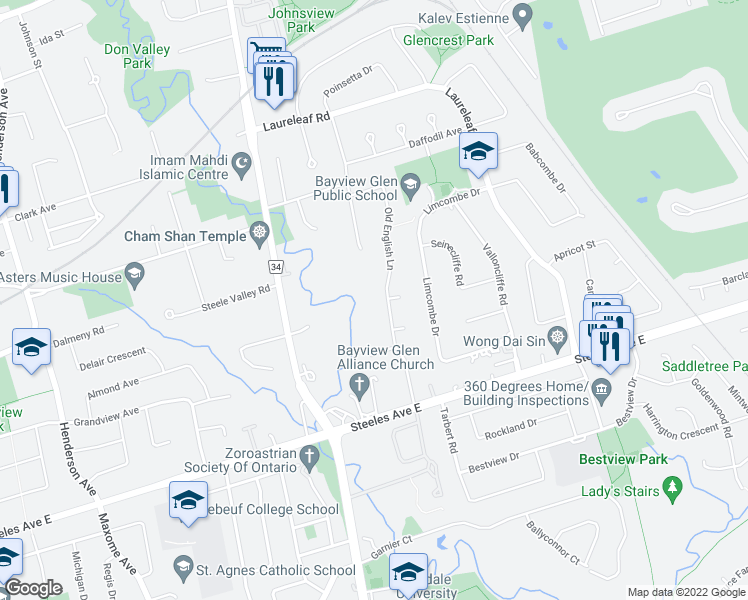 map of restaurants, bars, coffee shops, grocery stores, and more near 24 Old English Lane in Markham